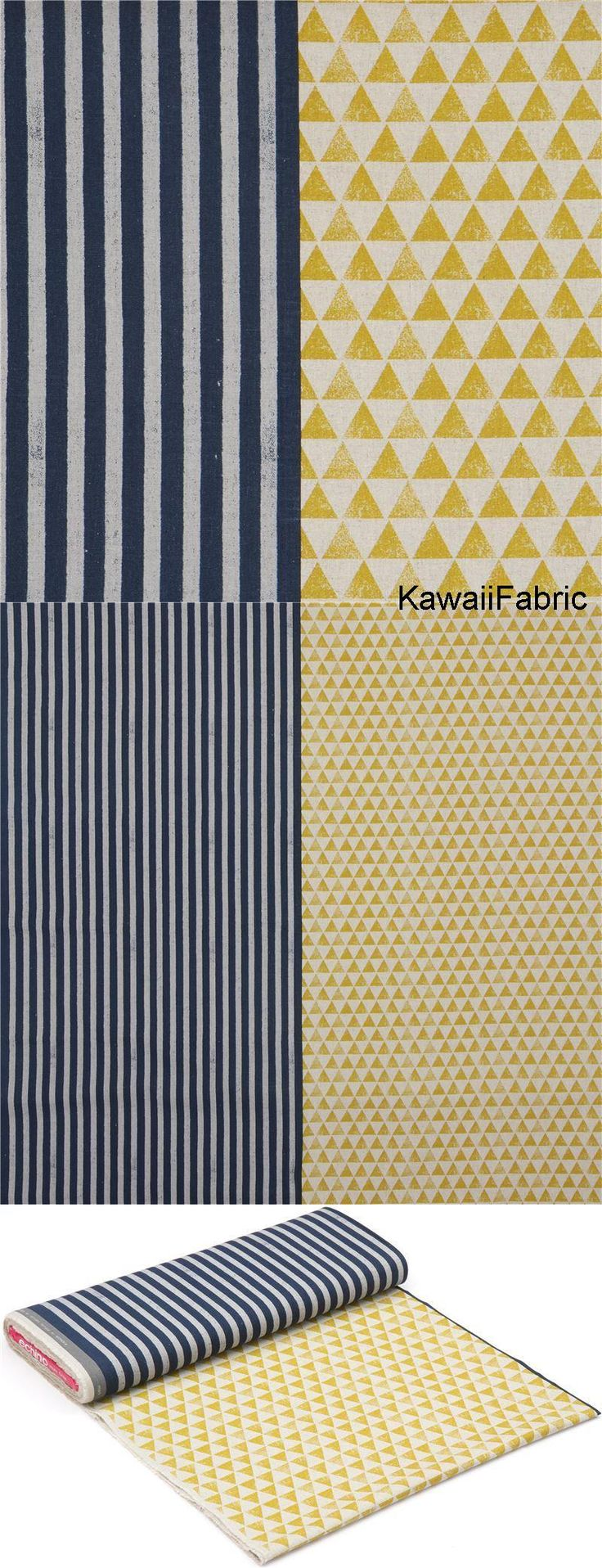 Spectacular Echino canvas fabric natural color yellow triangle with grey dark blue stripe