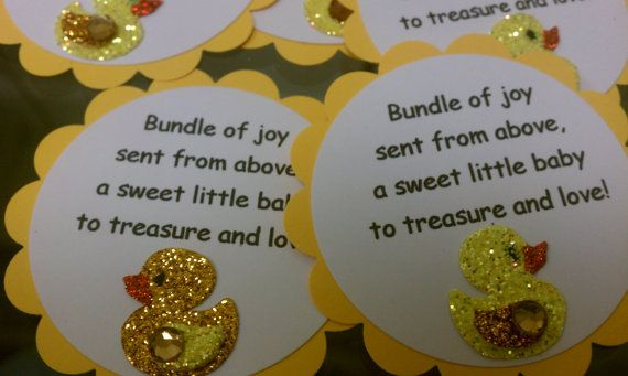 unisex duck baby shower favor, gift tag, thank you tag - set of 10