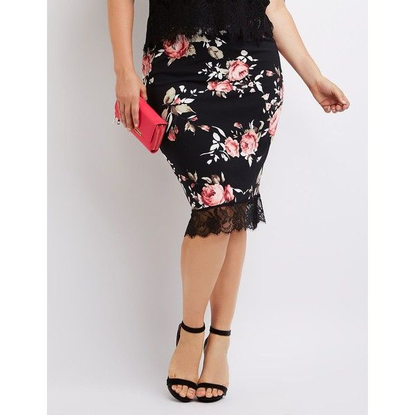 Charlotte Russe Floral Lace-Hem Pencil Skirt ($23) ❤ liked on Polyvore featuring plus size women's fashion, plus size clothing, plus size skirts, black combo, sexy skirt, stretch pencil skirt, floral pencil skirt, floral skirt and knee length pencil skirt