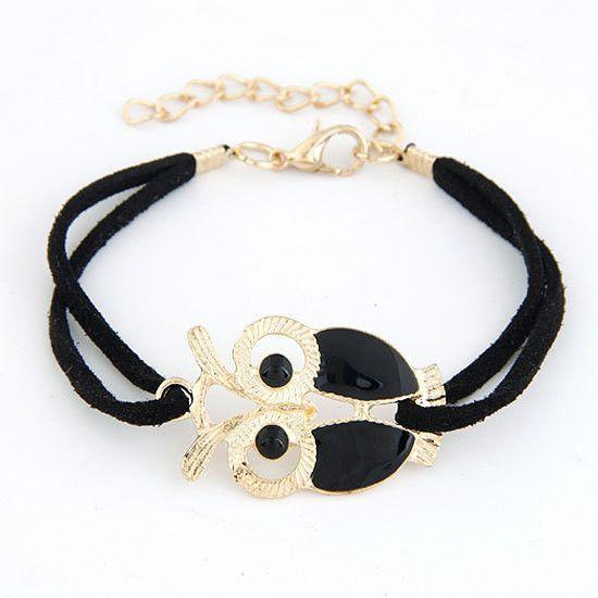 Leather String Strap Owl Charm Bracelet