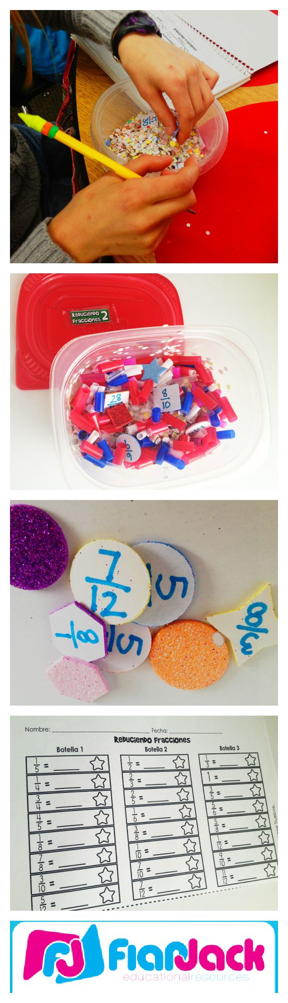 Fraction Treasure Hunt Freebie  Works Like Discovery Bottles  Covers  Reducing Fractions, Improper To