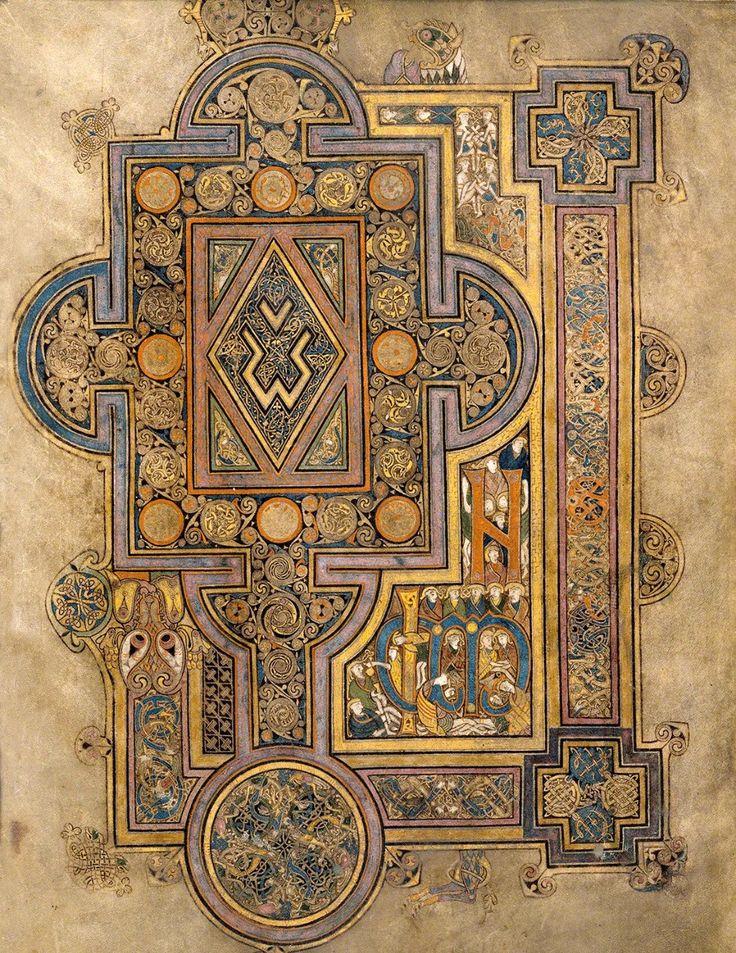 Page d'ouverture de l'évangile de Saint-Luc (folio 188r du livre de Kells).