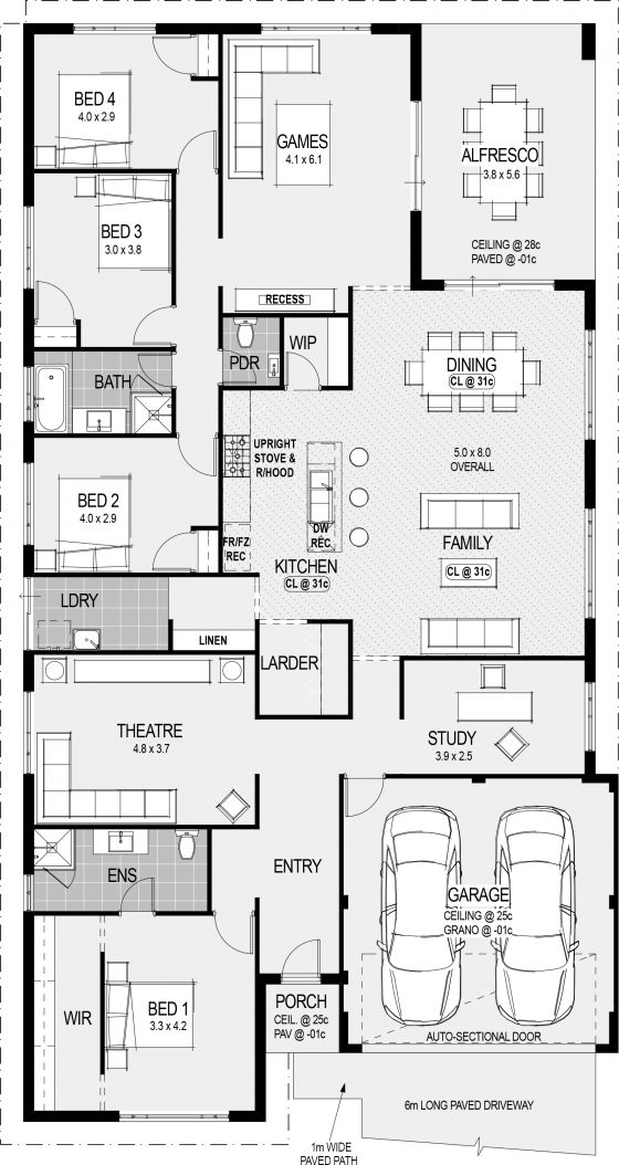This one is perfect. Game room would still be one, theater would be a craft room, study would be a library, one of the two extra bedrooms would be for guests, and the other for my LARP gear.