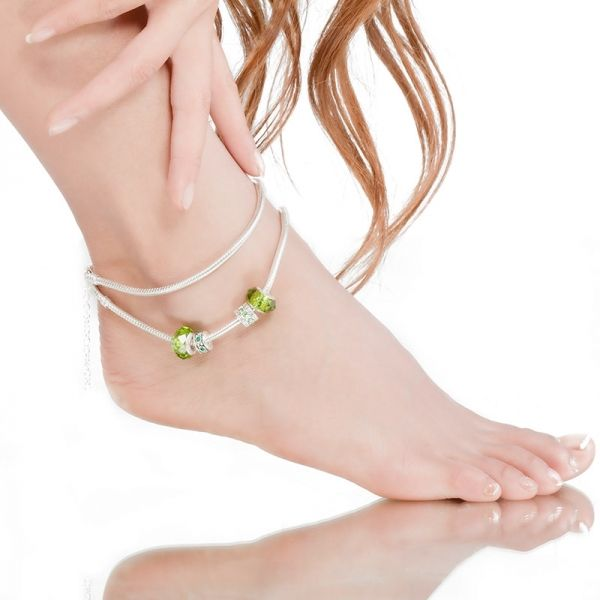Bratara de picior Green Murano Glass Beads Crystal Charm AK01