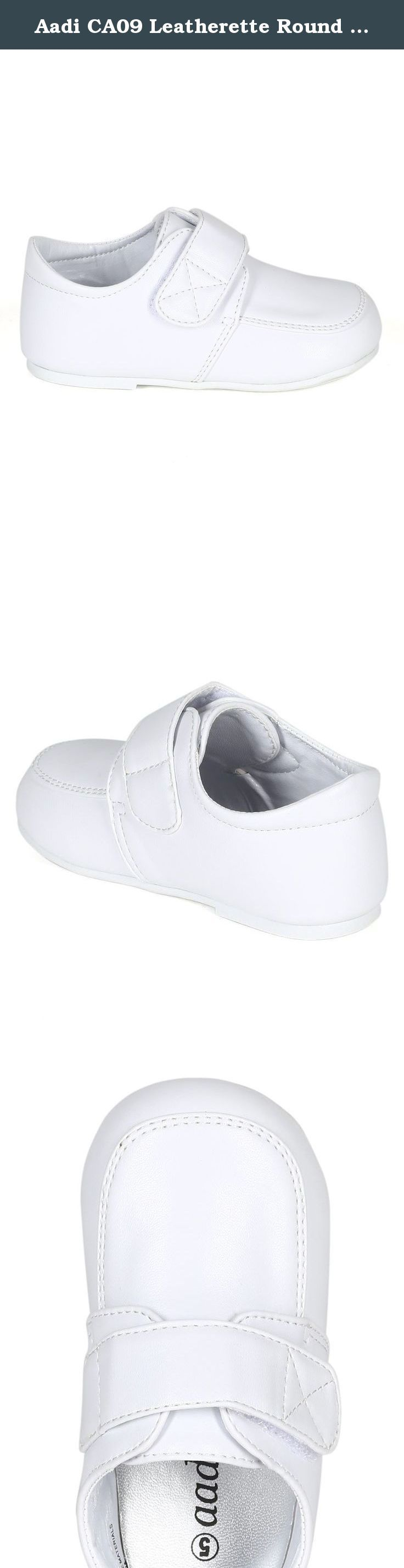 Aadi CA09 Leatherette Round Toe Velcro Strap School Shoe (Infant/ Toddler/ Little Boy) - White (Size: Infant 1). The perfect versatile school shoe for your little boy! Designed with leatherette upper, round toe front, stitch details, single velcro strap at opening, flat heel, and extra padded insoles for comfort.