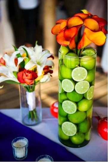 Limes then white and green flowers. Shower or reception (cocktail hour flowers)