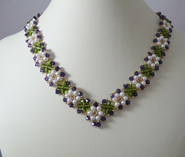 Woven necklace pearl and Purple Velvet Swarovski crystal.