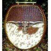 Cowboy Cowhide Western Decor Longhorn Leather Toilet Seat - Bathroom Items Bathroom Decor - WEST BY SOUTHWEST DECOR