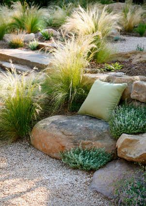 Beautiful use of Mexican feather grass and stone by Grace Design Associates.