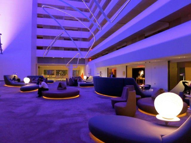 Conrad Hotel NYC lobby in purple