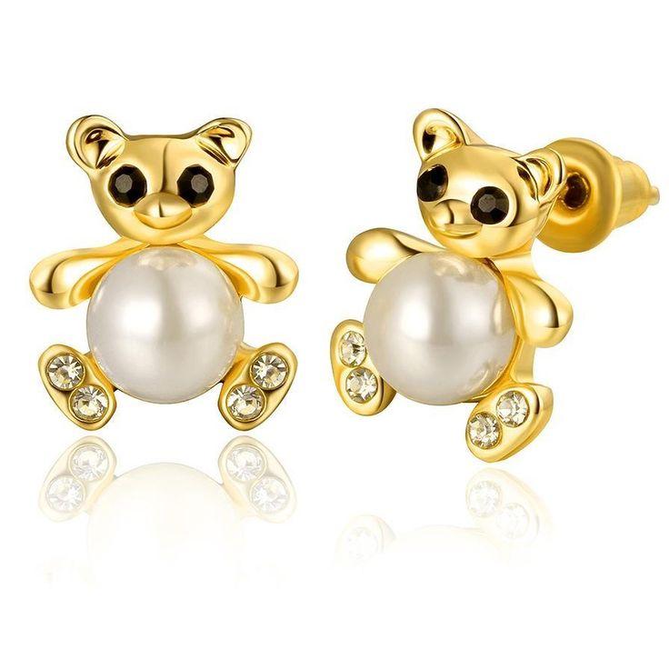 Cute Bear Earrings Animal Stud Earrings for Women Girls Gift Kids Earrings Clear Cz Black Enamel Imitation Pearl Jewelry