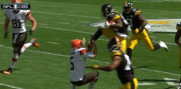 WATCH: Pittsburgh Steelers WR Antonio Brown Gives Browns Punter a Karate Kick to the Face   FatManWriting