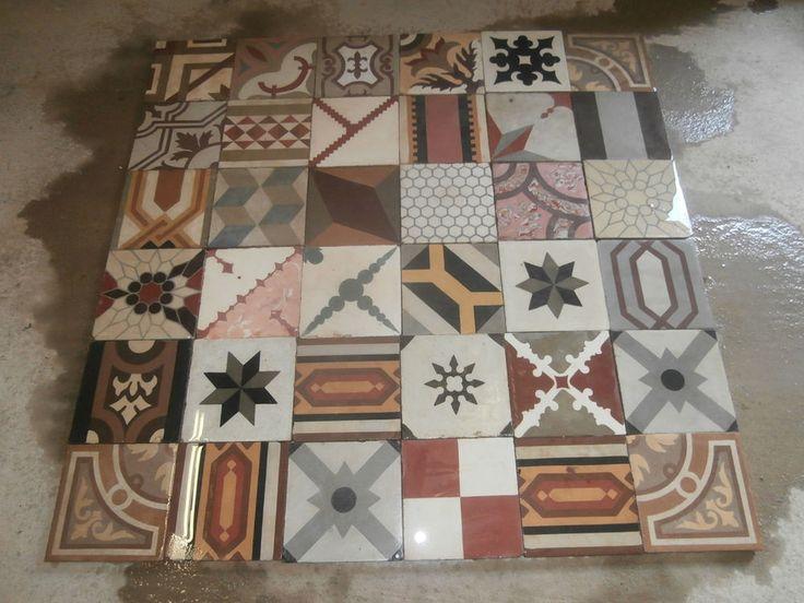 Antique encaustic patchwork tiles - panel  400 tiles - 172sq ft floor or wall