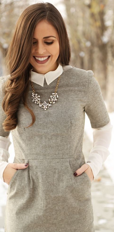 winter layering over-under :: grey wool dress, white button up and statement necklace