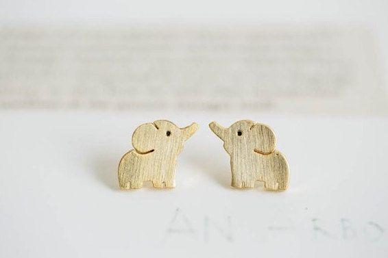 Etsy- Cute Elephant Earrings Gold Plating Elephant by ShopBijouBoutique - Cute Elephant Earrings, Gold Plating Elephant Earrings  Ask a question £6.51