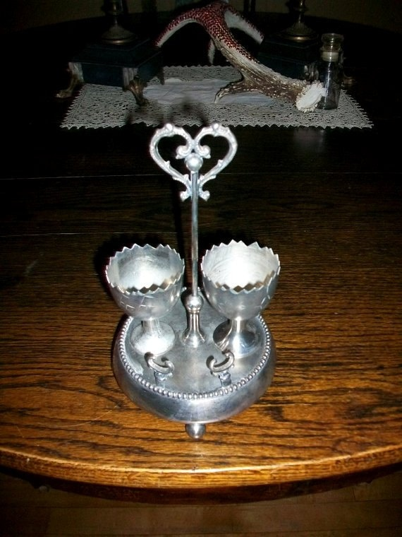 Victorian Egg Cups And Stand Silverplate 1890s Romantic Breakfast for Two