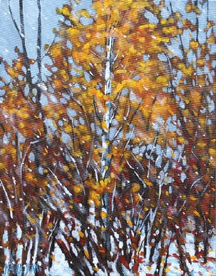 Melissa Jean, Early Snow,  Acrylic on Canvas 14 X 11 in. #CanadianArt $200.00