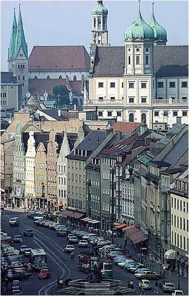 Beautiful Augsburg!  Augsburg is the 3rd largest city in Bavaria, with a population of over 264,000.  It was a Free Imperial City for over 500 years.  After Neuss and Trier, Augsburg is the 3rd oldest city in Germany.