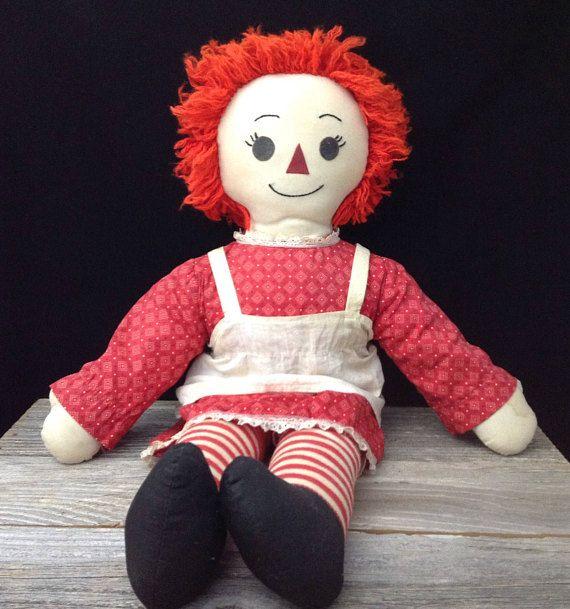 Large Raggedy Ann Doll Vintage Raggedy Anne Homemade Cloth