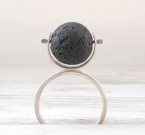 Black Lava Ring Sterling Silver Lava Stone by SunSanJewelry