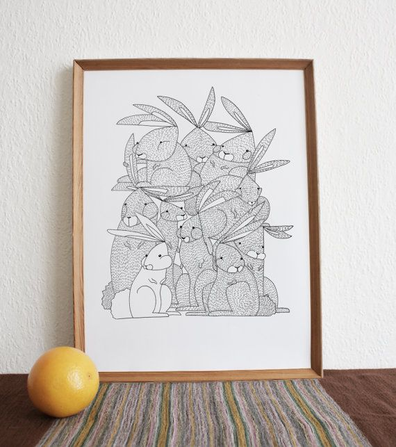 Them Crooked Rabbits  Print by Sunejillustrations on Etsy, kr120.00
