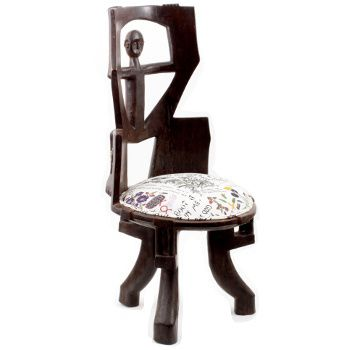 Ardmore Ceramics Batonka Stools: Mokonde King's Chair in Wonderboy Wisdom Fabric