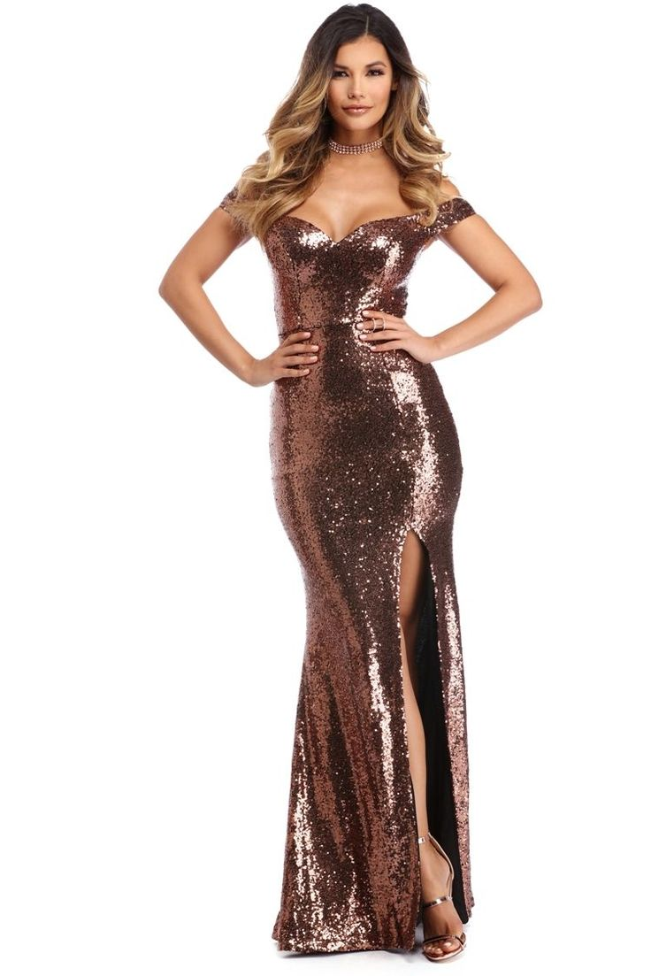 Evanna Copper Blissful Evening Dress | Create the most blissful evening with our glam Evanna dress! She features an off the shoulder sweetheart neckline, padded cups, a hidden back zipper, a high front slit, a fit and flare style bottom, a full lining and an all over sequin fabric.