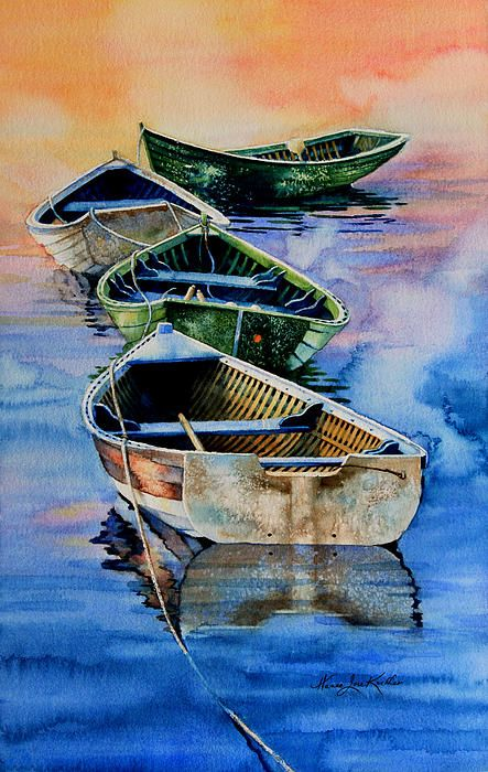 These dories were tied in a row to the dock at dawn on the east coast. I painted this watercolor using a photo taken by our friend and neighbor, Jamie Smith as reference. The following poem was also written by Jamie