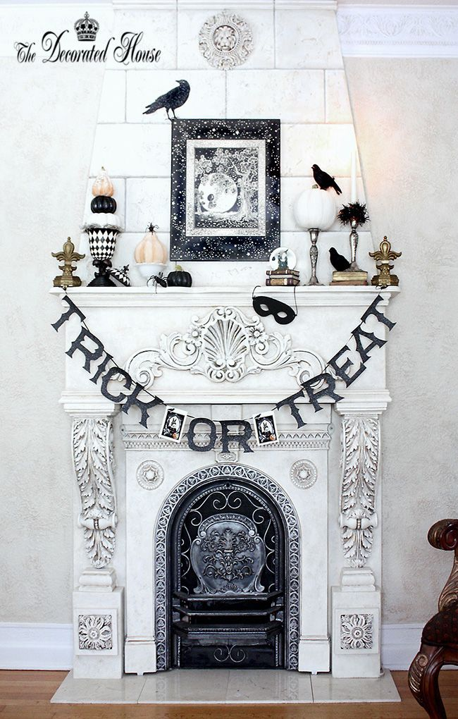 Black and White Halloween Decorating at The Decorated House. Halloween Mantel.