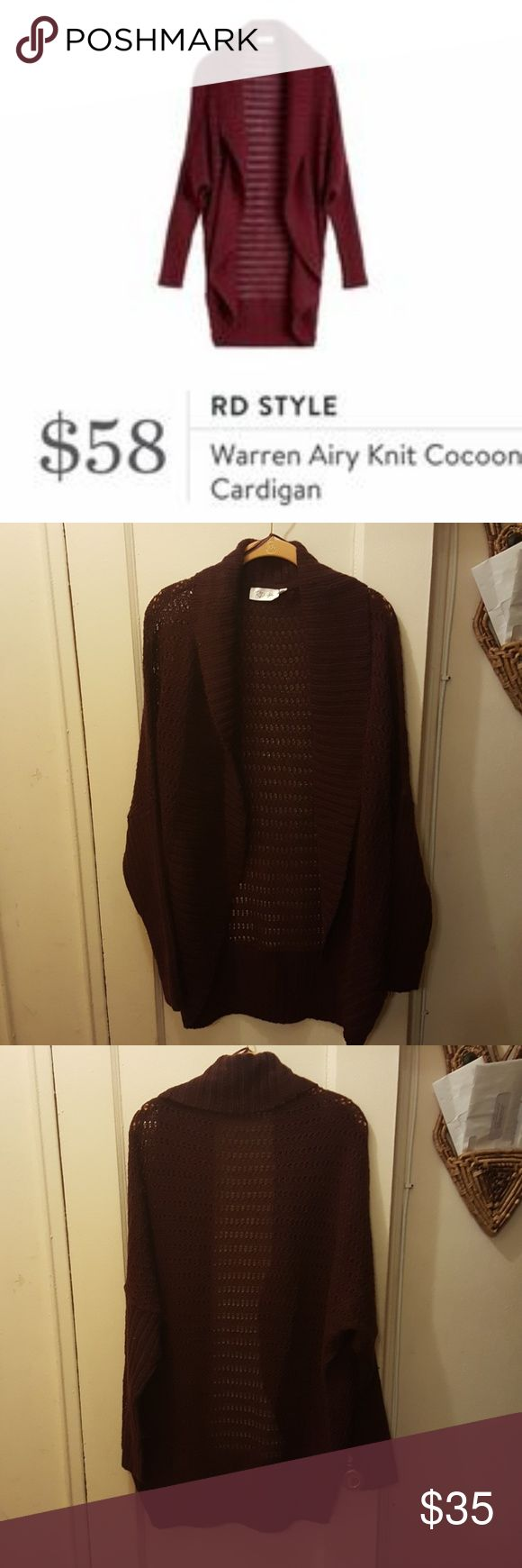 Maroon cocoon cardigan from rd style