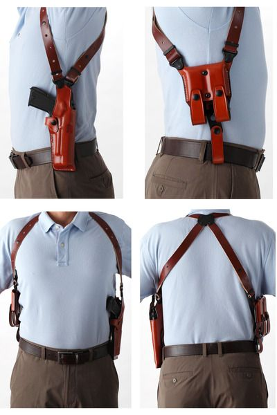 Premium VERTICAL Leather Shoulder Holster Set