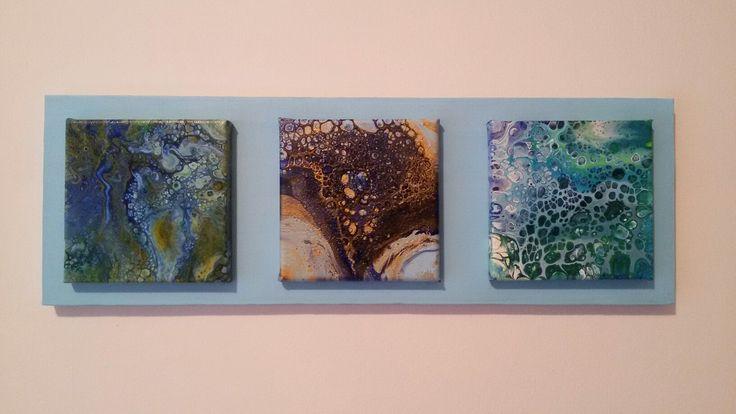 Abstract art. Fluid acrylic and cells