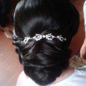 wedding side updo in Rome italy
