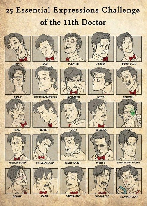 I love these 25-expressions things! Incredible that someone made 25 different versions of Matt Smith and they all look like him!