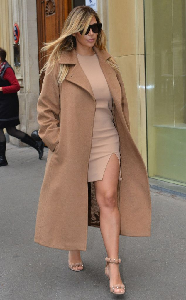 Slit-to-There from 35 Times Kim Kardashian Made Beige Look Sexier Than Being Nude