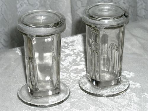 Pair Of 2 Oz Antique Glass Lab Specimen Jars Amp Lids