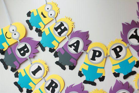 Yellow Purple minion birthday party banner Evil minion banner