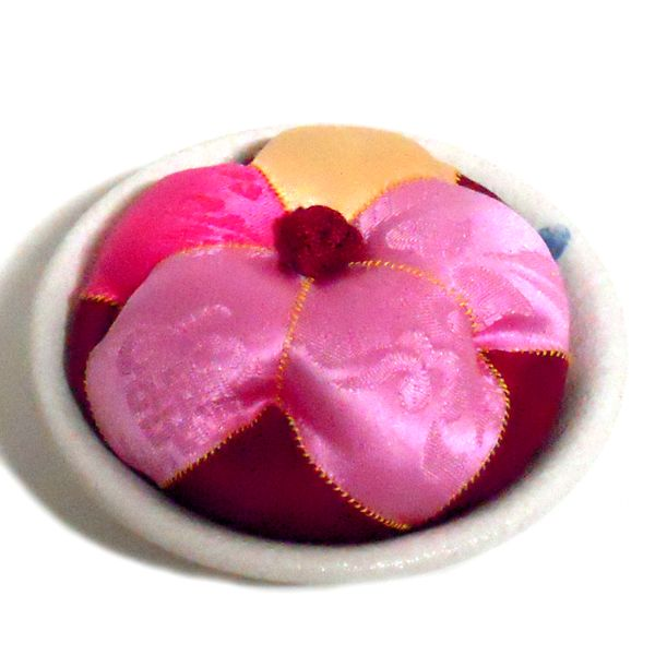 flower shaped korean traditional pincushion with pure silk