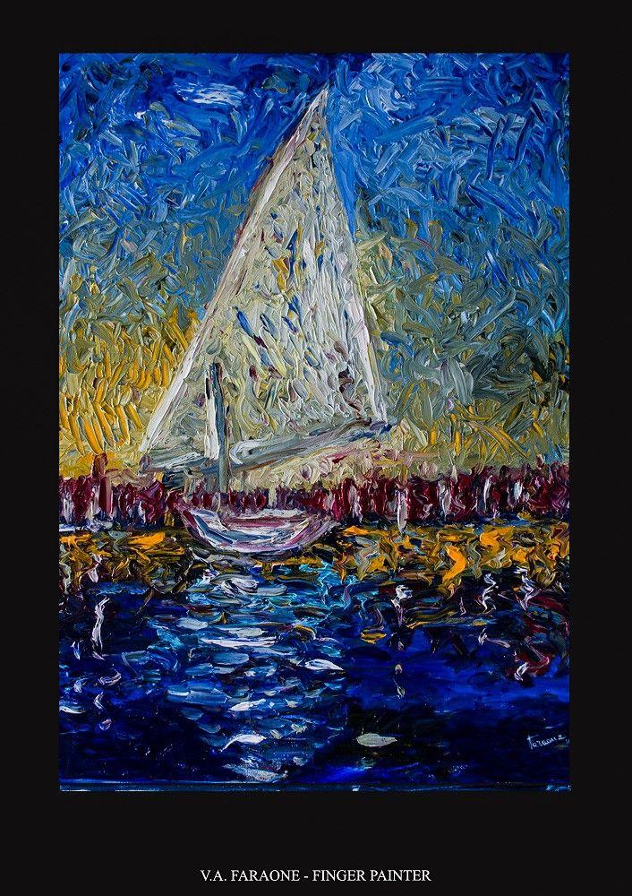 """SOLITARY BOAT"" oil on canvas 50x70cm fingerpaint technique  www.faraonepainter.com  Ti piace e vuoi acquistarlo? Do you like it? Buy it!  https://www.etsy.com/it/listing/534784022/olio-su-telafinger-paintingsolitary?ref=shop_home_active_6"