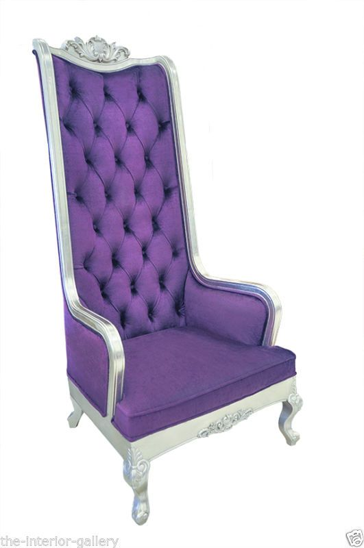 Chair High Back Baroque Velvet King Throne Purple Via Canada Pinterest Chairs And