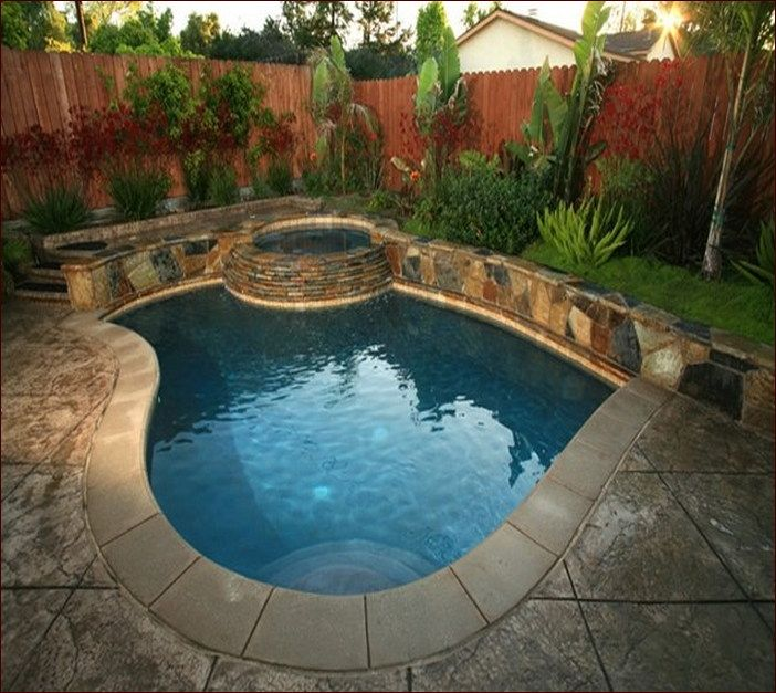 Small Yard Inground Swimming Pools : Best images about small inground pool spa ideas on