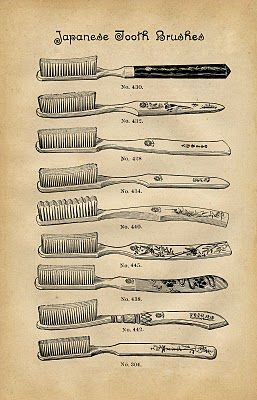 Vintage Instant Art Download - Adorable Toothbrushes - The Graphics Fairy