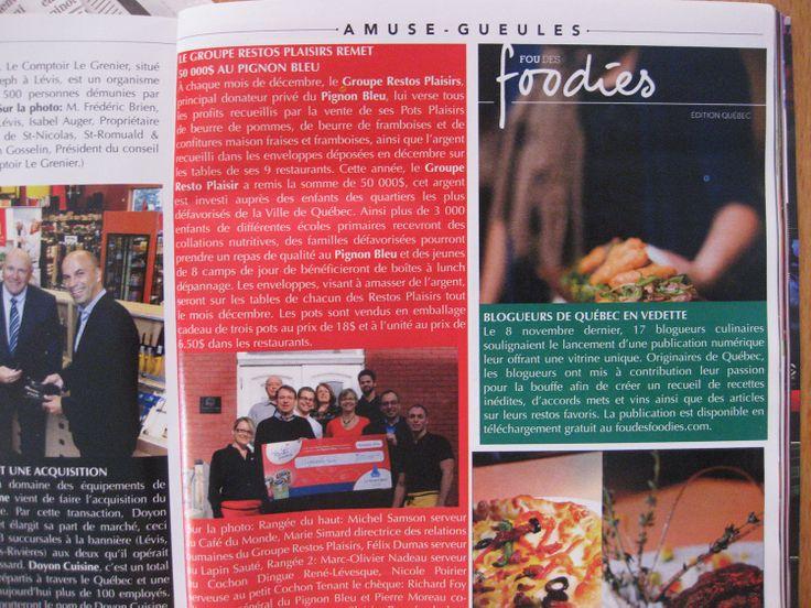 Projet Foo des foodies qui est mentionné dans la revue Québec Scope