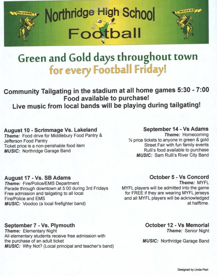 Northridge High School Football Green and Gold Days: pregame tailgating and live bands!Mattoon Huddle, Midwest Roots, Living Band, Football Fun, Cheer Things, Green And Gold, High Schools Football, Football Green, High Schools Tailgating