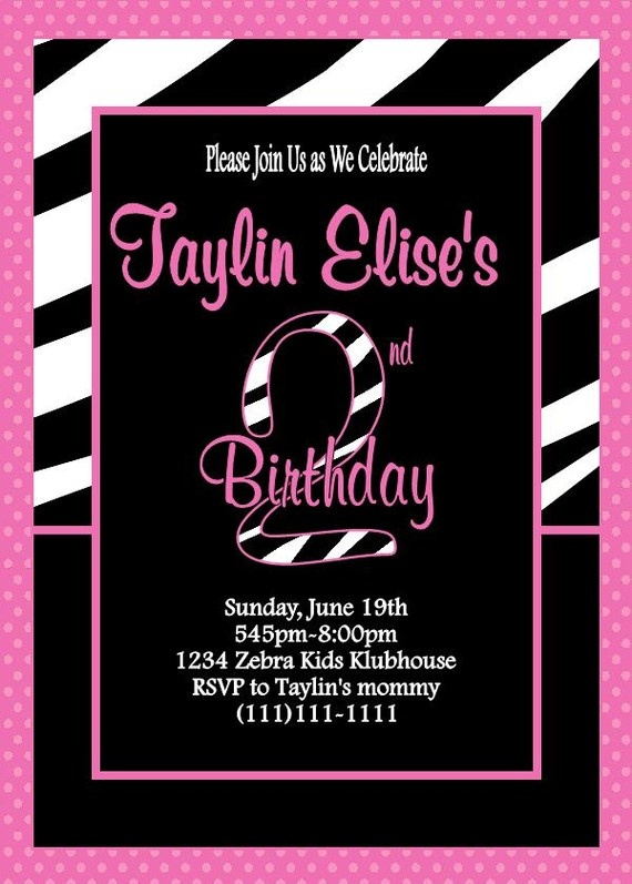107 best digital invitations print yourself images on pinterest hot pink and zebra birthday party invitation can be printed or sent in a digital filmwisefo