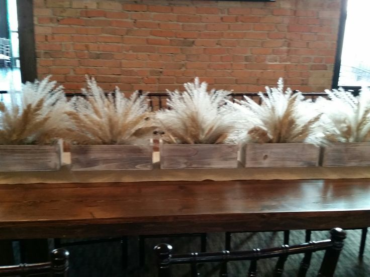 Rustic flower box centerpiece - pampas grass