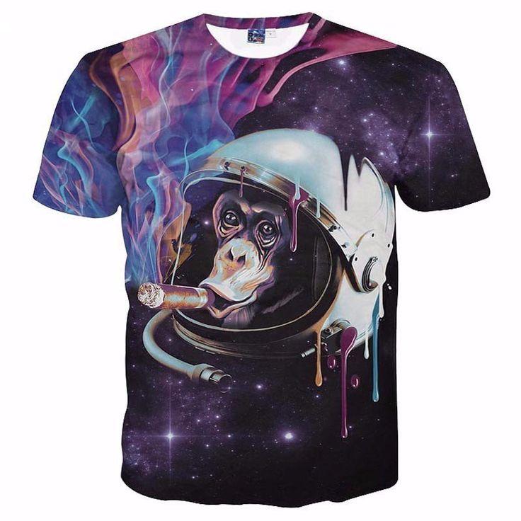 Cheap tshirt, Buy Quality brand tshirt directly from China tshirt brand  Suppliers: 2017 Space Galaxy T-shirt Men/women Sexy Tees Print Smoking  Monkey Summer ...