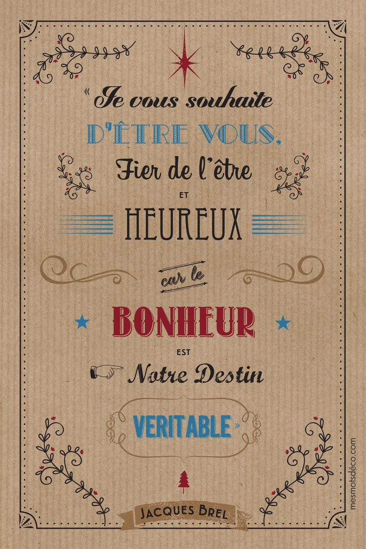 """4 cartes de voeux Jacques #Brel """"Je vous souhaite"""" pour Mes Mots Déco. format 10*15 cm imprimé sur papier texturé. 1 citation différente par carte. """" mesmotsdeco.com"""