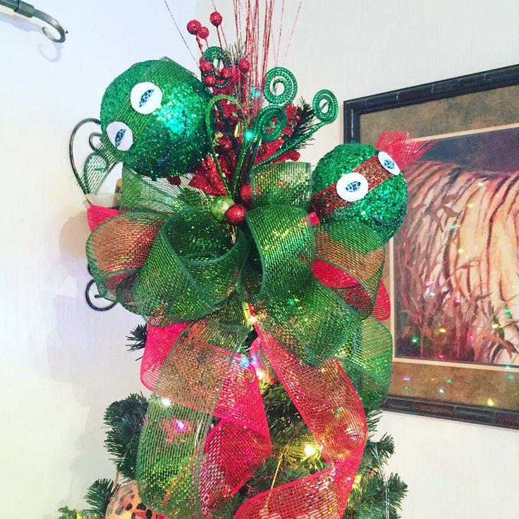 Deco mesh Ninja Turtle tree topper. It was so fun to make