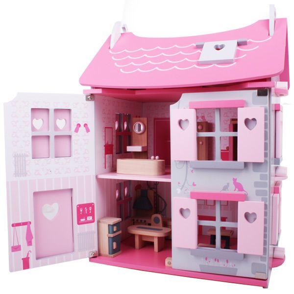 """Casa delle Bambole - """"La vie en rose""""  Fabbricata in legno, con porte e finestre che si possono aprire e chiudere comprende 15 pezzi di arredamento  Dimensioni:  42cm x 32cm x 58cm  Età: dai 3 anni  Marca: Eurekakids by Janod"""